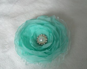 Shabby chic mint flower hair clip or a brooch