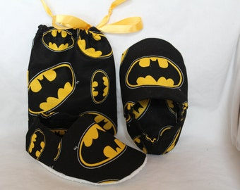 Batman Baby Slippers + Fabric Gift Bag
