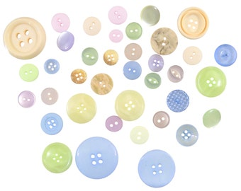 Pastels Pink Yellow Blue 50g Bag of Mixed Buttons