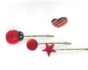 Girls Hair Accessory with Ladybug, red, Girls Bobby Pins, Hair Accessories, Girls Gift Idea, Kids Birthday
