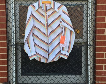 70s disco shirt , striped 11/12 slim fit with pointed collar