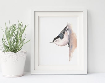 Nuthatch print of watercolor painting N080DL, printable download, digital download, nuthatch print of watercolor painting