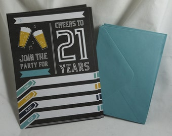 Party Invitation & Envelope - 21st Birthday x 10 - recycled paper