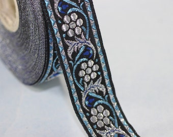 35 mm Bavarian spring time floral Blue Jacquard trim (1.37 inches) - floral ribbon -  Tapes - Band - Jacquard ribbon - Ruban - Ribbons