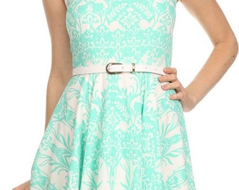 Brocade Pattern Printed Flare Dress