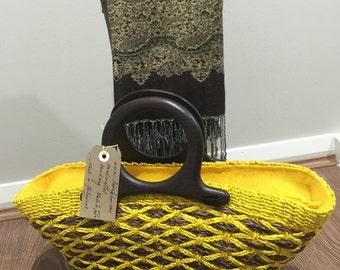 "Yellow seana abaca (jute)handbag height9""x17""width"