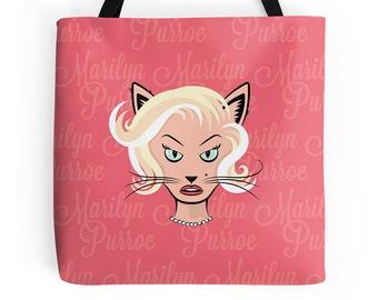 Cat Tote Bag - Marilyn Monroe Tote - Fun Tote Bag - Cute Tote Bag - Quirky Tote Bag - Cute Handbag - Grocery Bag - Cat Bag - Cat Purse Pink