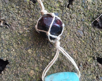Garnet Wrapped Crystal Necklace