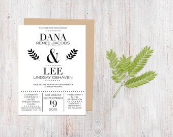 Wedding Invitation - Monochromatic Twigs {Customized Printable Invitation}