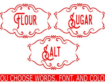 Kitchen label set, Canister Label Set, Container Label Set, Storage Labels, Pantry Labels, Labels, Custom, Personalize