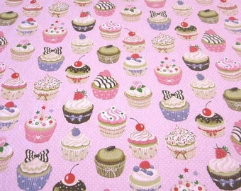 cotton fabric cupcakes muffins dots light pink colourful sweet