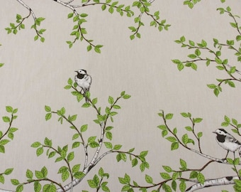cotton fabric canvas swedish birch branch birds wagtail Arvidssons