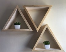 3 triangle shelves, geometric, modern, custom shelves, wood triangle shelves, triangle shelf, floating shelves, display shelf, boho, hippy