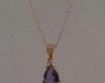 14KT Yellow Gold Amethyst and Diamond Pendant
