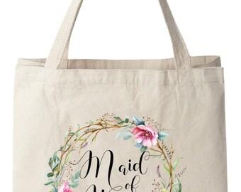 Tote Bags,Maid of Honor Tote Bags, Maid of Honor Bag, Wedding Tote Bag, Bridal Tote Bag, Wedding Bag, Floral Tote Bag, Canvas Tote Bag