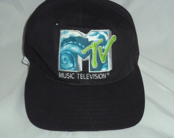1 MTV baseball colored TV cap hat vintage early 80'S  Black cap with Mtv logo Very nice black hat with sea type logo lime green