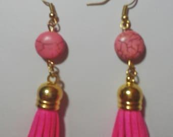 Pink suede leather tassel earrings