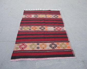 FREE SHIPPING !!!Kilim rug,hand made wool rug,Vintage Oushak rug,Turkish vintage  rug, stripe design wool rug,kilim,45 x 34 inches,boho rug