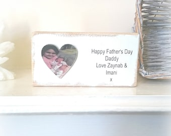 Handmade Daddy photo plaque, father's day gift, wooden father's day plaque, new daddy gift