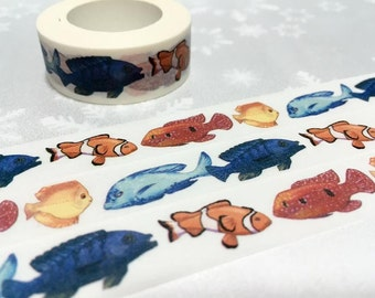 tropical fish clown fish washi tape 10M Colorful Fish Watercolor fish sticker tape underwater world fish planner gift diary scrapbook