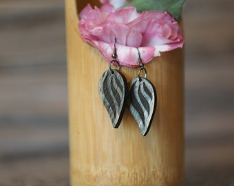Wooden leaf-looking earrings (solid).  Gift for women. Free shipping.