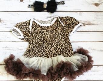 Baby Leopard Onesie - Baby Leopard Set-Photo Props Gils- Tutu Girls