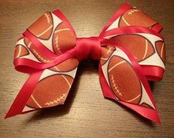 """5""""  Football Hair bow - Custom Colors for sports teams!"""