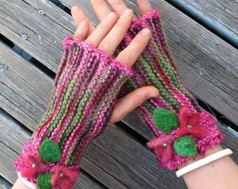 Handknit fingerless mitts, fingerless gloves - Spring Garden