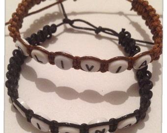 Personalised Cord Friendship Name Bracelet / Adjustable