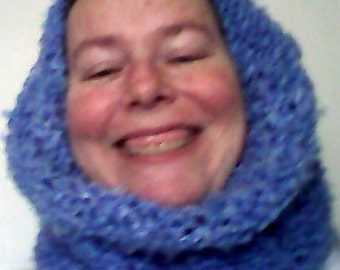 Knitted Cowl Hood/Scarf in Light Blue