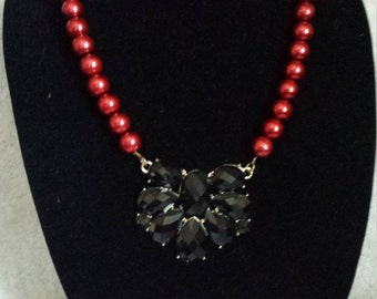 Red and Black Beaded Statement Necklace