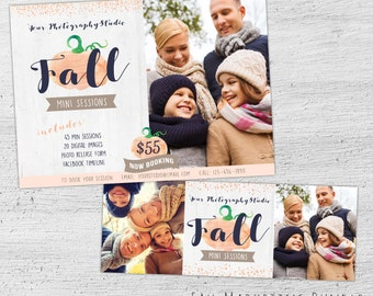 Fall Mini Session Template, Facebook Timeline, Facebook Cover, Fall Marketing Board, Autumn, Photoshop Template for Photographers - 07-006