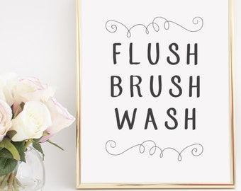 Flush Brush Wash Bathroom Home Decor Printable Wall Art INSTANT DOWNLOAD DIY - Great Gift