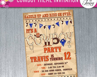 COWBOY / RODEO invitation - Made to order