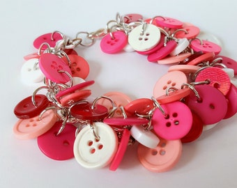Shades of Pink Button Bracelet