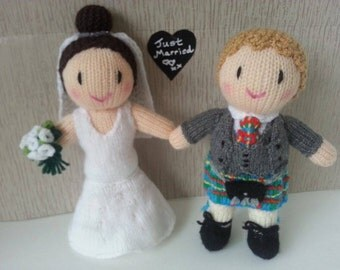 bride (mermaid style dress) and groom (customized tartan)