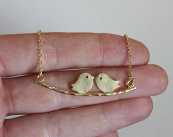 Gold Lovebirds Two Birds Necklace | gift for her / Mother's Day / anniversary / love