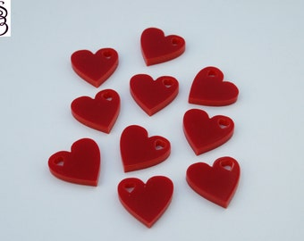 10, 25,50 x Perspex Heart Charm Acrylic Red Gloss FREE SHIPPING