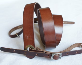 "handmade leather camera strap made in France Urban Cam ""The slasher mahogany"""