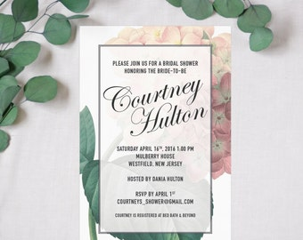 Printed Floral Vintage Hydrangea Bridal Shower Invitation