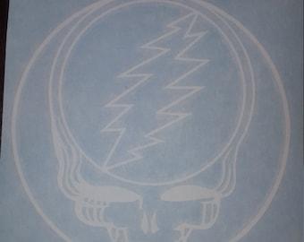 6x6 White Vinyl Stealie Sticker