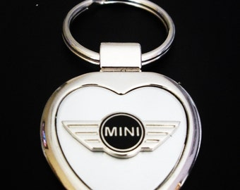 Mini Cooper Heart Shaped Brushed Silver with Silver Trim Keyring-Free Engraving