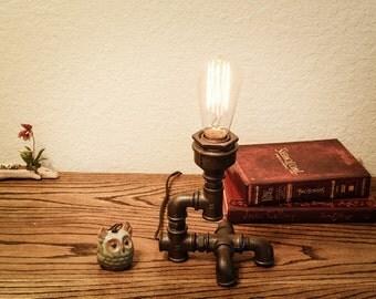 Industrial Iron Pipe Lamp; Pipe Lamp; Edison Table Lamp; Antique Edison  Lamp;