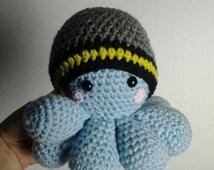 Batman Inspired Infant Hat, Hat/Toy Bundle, Crochet Octopus Plush Toy, Amigurumi Kawaii Octopus, Batman Hat