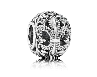 Authentic Pandora Fleur-De-Lis Open Work Charm Bead