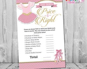 Ballerina Baby Shower Game, Tutu Cute Price is Right Baby Shower Game: Printable Ballerina Girl Baby Shower Games, Pink Gold Ballet, INSTANT