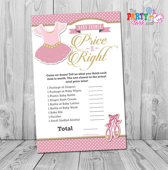 Captivating Ballerina Baby Shower Game, Tutu Cute Price Is Right Baby Shower Game:  Printable Ballerina Girl Baby Shower Games, Pink Gold Ballet, INSTANT