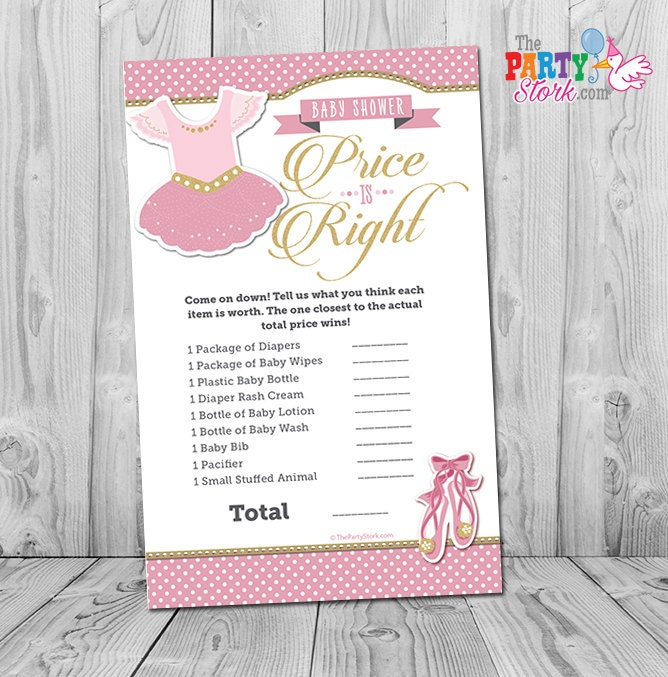 ballerina baby shower game tutu cute price is right baby