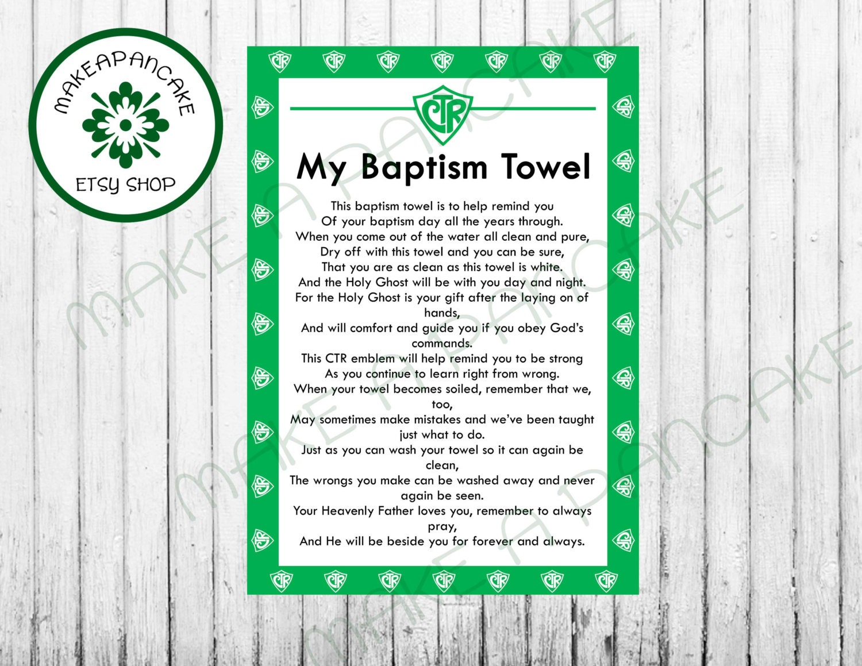 CTR LDS Baptism Towel Poem Instant Download | Etsy