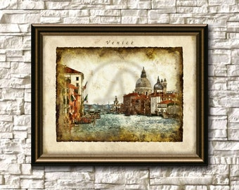 Venice Printable,Venice Wall Art,Venice Cityscape,Venice Digital,Venice Skyline,Instant Download,Venice Watercolor,Venice Gift,Venice Italy